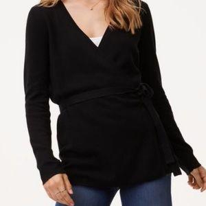 Loft Cozy Black Ballet Wrap Sweater